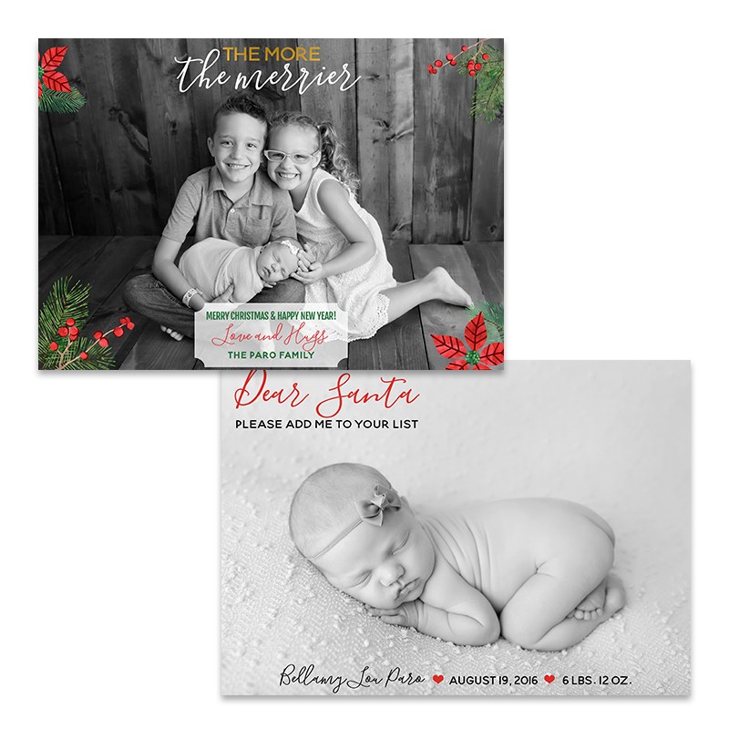 More the Merrier Birth Announcement Holiday Card - Jumping Jax Designs
